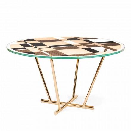 Table ronde moderne avec plateau en verre et bois Ozzy