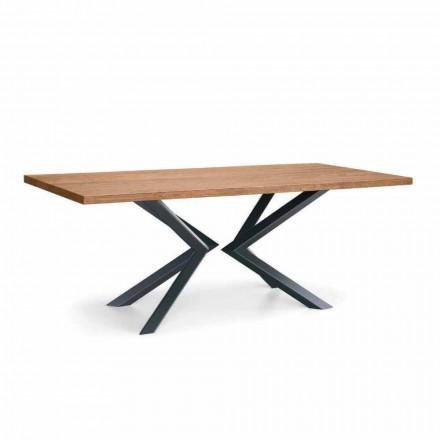 Table de salle à manger moderne en chêne noué et métal fabriqué en Italie - Veruka