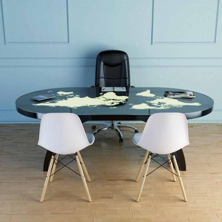 Table de bureau moderne avec surface en verre fabriquée en Italie, Pontida