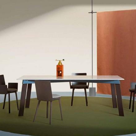 Table de salon moderne en acier avec plateau en marbre design - Aronte