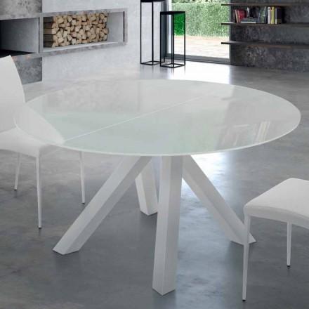 Table Ronde Extensible en Verre Tempéré et Acier Made in Italy – Settimmio