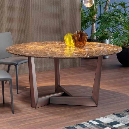 Table ronde en marbre et en métal Made in Italy – Bonaldo Art