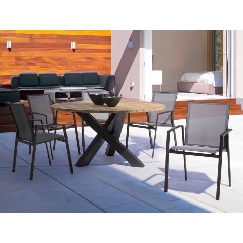Table ronde d'extérieur moderne avec Homemotion - Dessus en bois de teck Ruben
