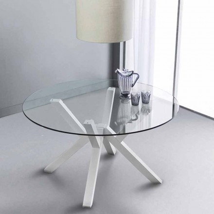 Table en verre trempé et bois massif blanc Burgos, de design moderne
