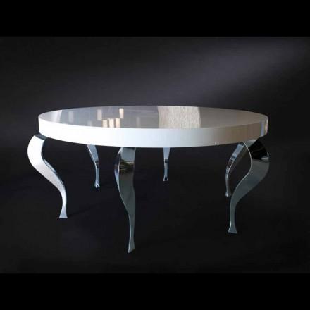 Table ronde de style classique en MDF et acier Luigi