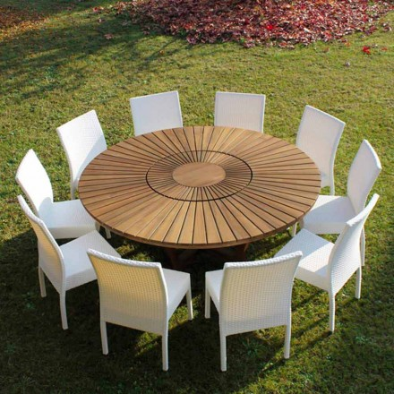 Table ronde en teck Real Table, pour le jardin et la maison