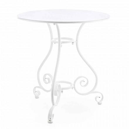 Table de jardin ronde style Shabby Chich en acier peint - Charm