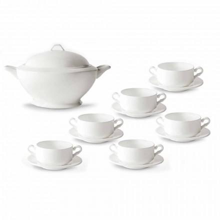 Tasses à soupe, soupière et soucoupe en porcelaine blanche 13 pièces - Samantha