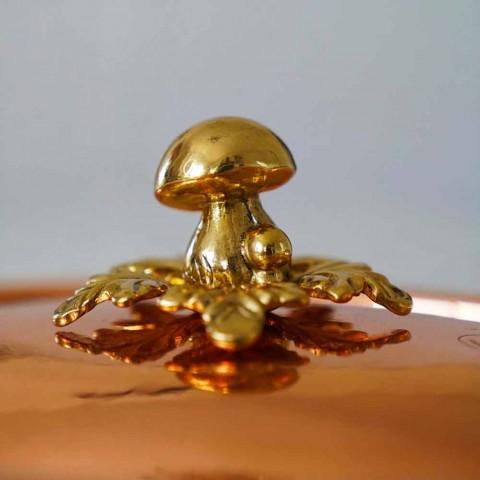 Casserole Design Rond en Cuivre Étamé avec Couvercle 20 cm - Mariastella