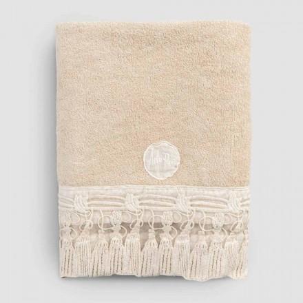Serviette de bain en coton éponge avec dentelle italienne à pampilles de luxe - Arafico