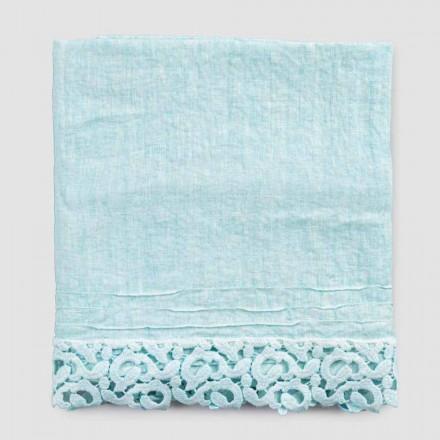 Serviette de bain en lin épais avec dentelle Poema qualité italienne 2 couleurs - Château