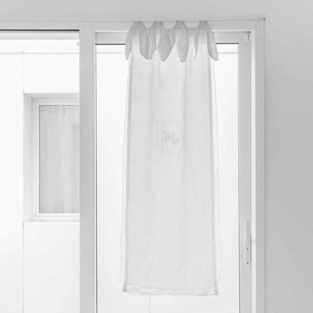 Rideau avec gaze de lin et organza blanc de design élégant - Tapioca