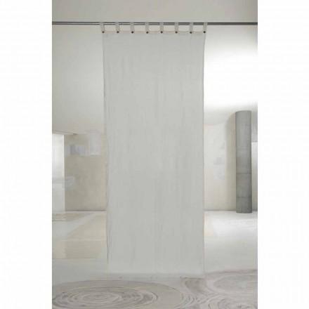 Rideau en lin blanc clair avec boutons de design de luxe - Geogeo