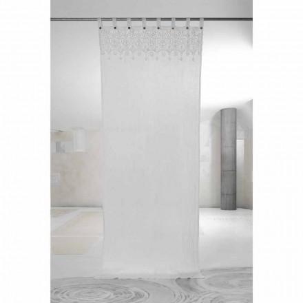 Rideau en lin blanc clair avec dentelle de design élégant fabriqué en Italie - Geogeo