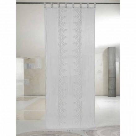 Rideau en lin blanc et clair avec dentelle centrale, design élégant - Geogeo
