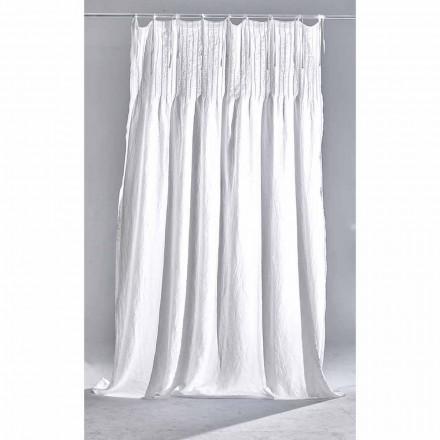 Rideau en lin blanc clair avec côtelé, design italien de qualité - Tafta