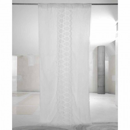 Rideau en lin blanc clair avec organza et broderie de luxe italien - Marinella