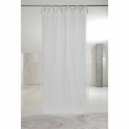 Rideau en lin et organza blanc avec languettes, design de luxe fabriqué en Italie - Ariosto