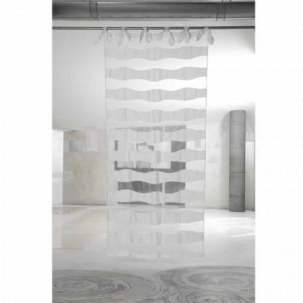 Rideau en lin et organza blanc avec broderie de design élégant - Oceanomare