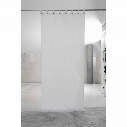 Rideau en lin épais blanc avec boutons de luxe de qualité italienne - Gorgia