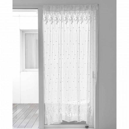 Rideau en Tulle Blanc avec Broderie à Pois et Fleurs, Design - Eucariota