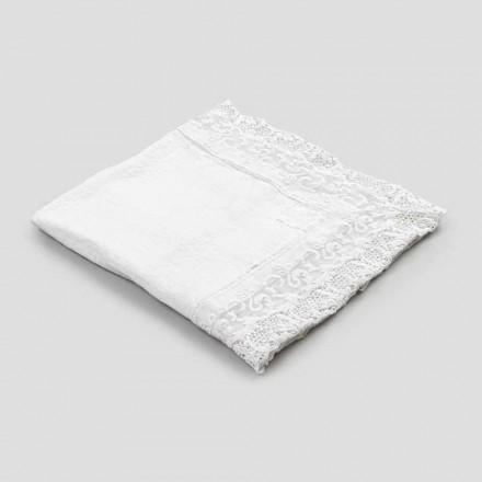 Nappe carrée en lin avec dentelle blanche design de luxe fabriqué en Italie - Olivia