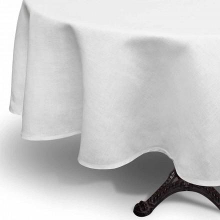 Nappe ronde en lin blanc crème fabriquée à la main en Italie - Blessy