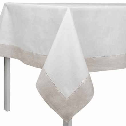 Nappe Lin Blanc et Naturel, Rectangulaire ou Carrée Made in Italy – Chiana