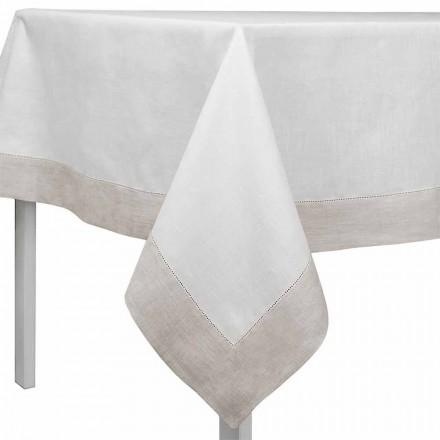 Nappe rectangulaire ou carrée en lin blanc et naturel Made in Italy - Chiana