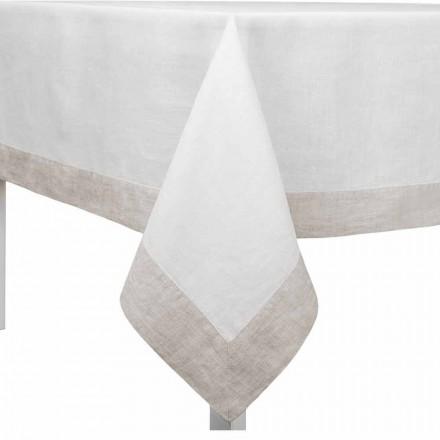 Nappe en lin blanc et naturel, rectangulaire ou carrée Made in Italy - Poppy