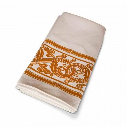 Nappe artistique imprimée à la main de haute artisanat italien en coton et lin