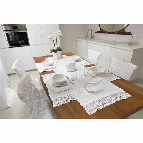 Set de table en lin blanc pur avec cadre ou dentelle Made in Italy - Davincino