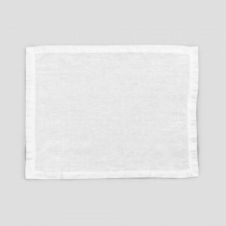 2 sets de table en lin blanc pur avec bordure ou dentelle, design Made in Italy - Davincino