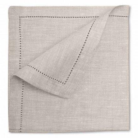 Serviette en pur lin blanc ou naturel Made in Italy, 2 pièces - Chiana