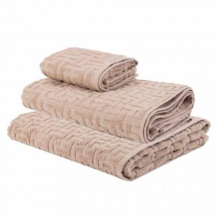 Trio de serviettes de bain en tissu éponge, visage et invité - Ginestra