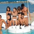 Bar flottant pour piscine Trona en simil cuir nautique et méthacrylate