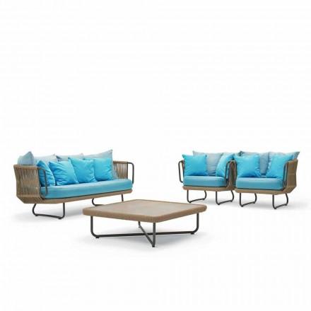 Salon de jardin,1 canapé,2 fauteuils et table basse Varaschin Babylon