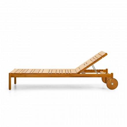 Chaise longue à roulettes de jardin en bois de teak, Varaschin Barcode