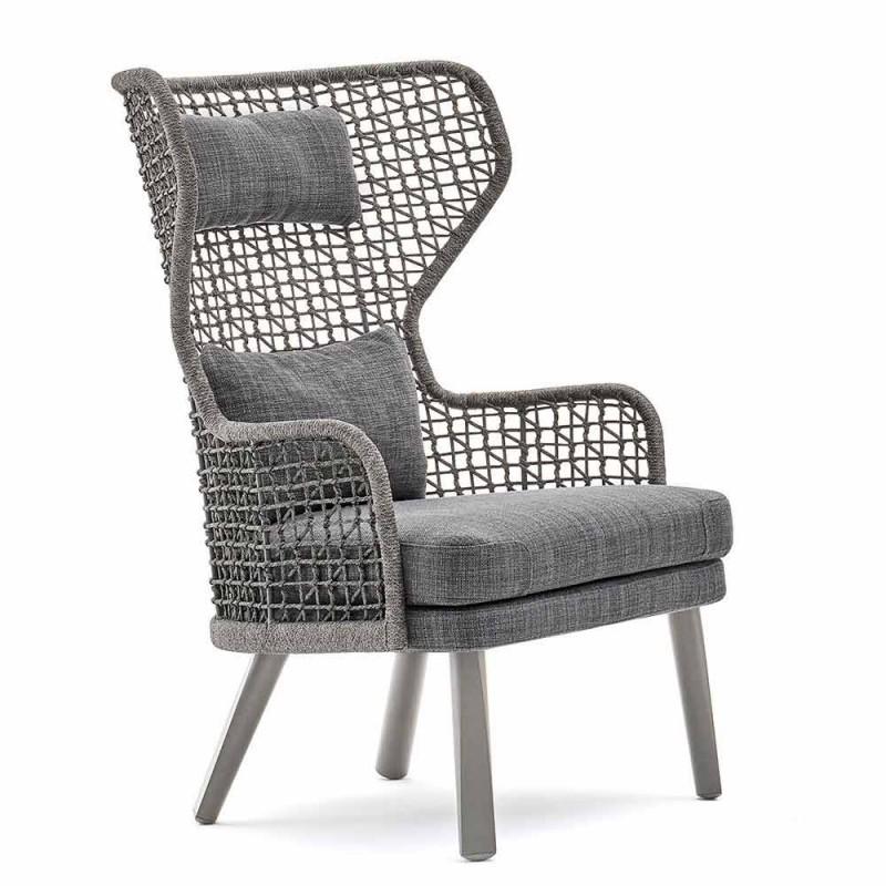 Varaschin Emma fauteuil de jardin extérieur moderne avec repose-tête en tissu