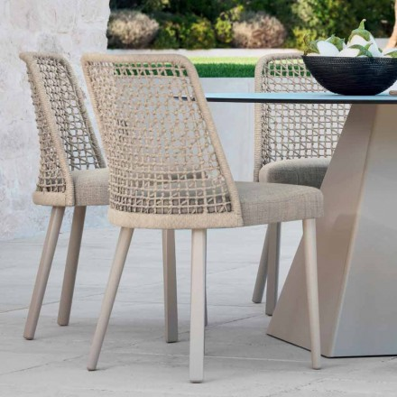Chaise d'extérieur design moderne en tissu et aluminium Emma Varaschin