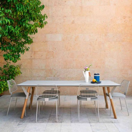 Table extensible d'extérieur avec pieds en teak Varaschin Link, H65 cm