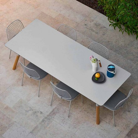 Table extensible de de jardin, pieds en teak, H 75 cm Varaschin Link