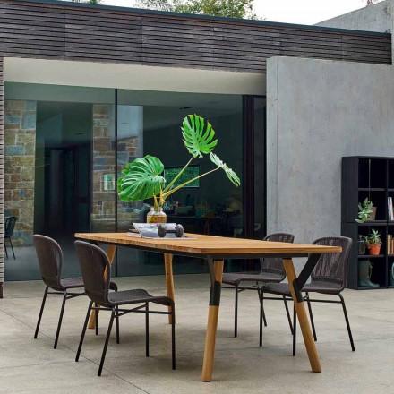 Table de repas de jardin, pieds en bois de teak, H65 cm Varaschin Link