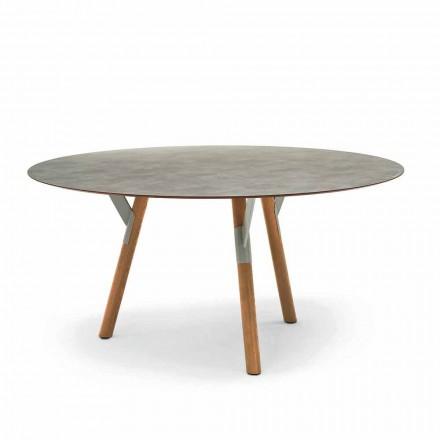 Table de jardin ronde avec pieds en bois de teak H65 cm Varaschin Link