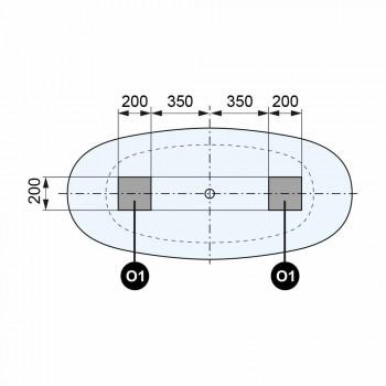 Baignoire bicolore à poser, design en surface solide - Look