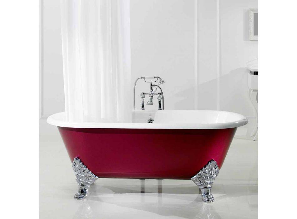 baignoire autoportante avec salle de jambes en fonte