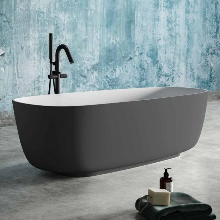 Bagnoire Ilot Bi-couleur Gris, en Solid Surface – Canossa