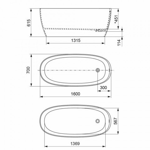 Baignoire À Poser, Design Solid Surface Glossy / Matte - Veil