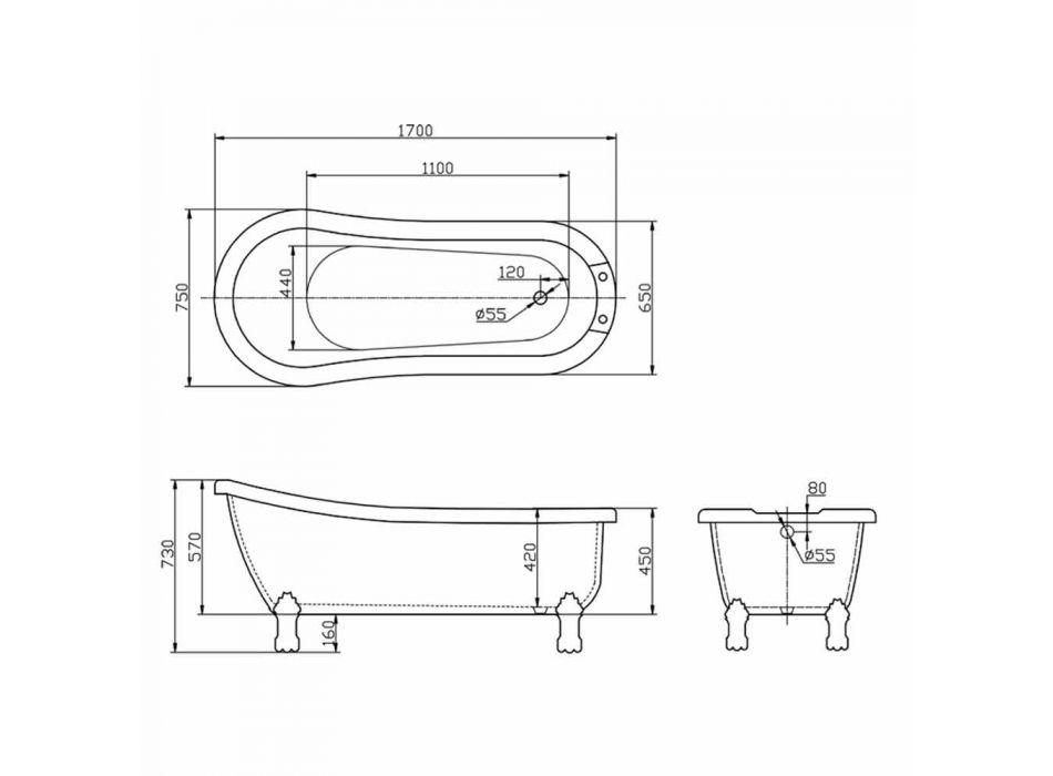 Baignoire autoportante design moderne en acrylique blanc Dawn 1700x750mm