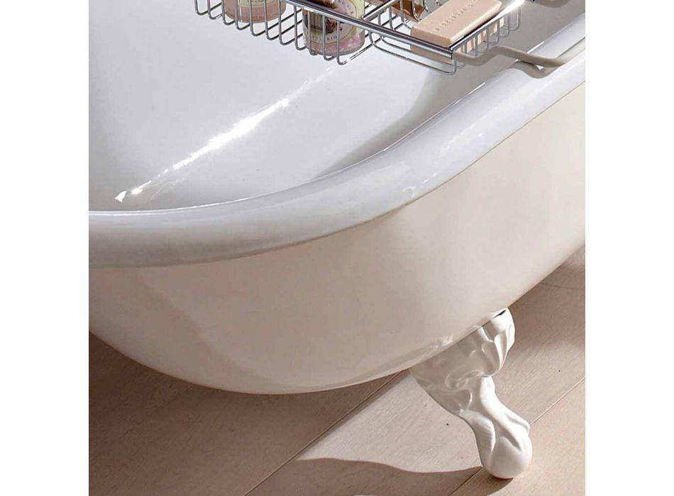 Baignoire Design Autoportante Vintage en Fonte Blanche, Fabriquée en Italie - Marwa